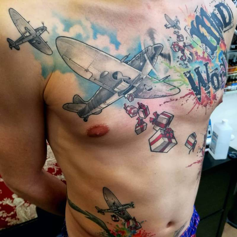 Plane Tattoo by Sonny Superglue