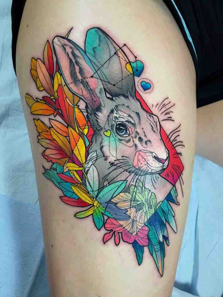 Rabbit Tattoo by Katie Shocrylas