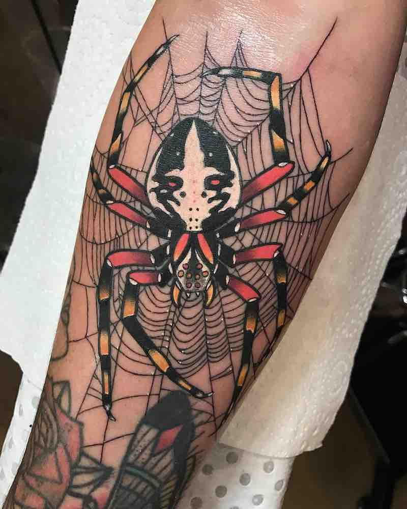 Spider Tattoo by Drew Shallis