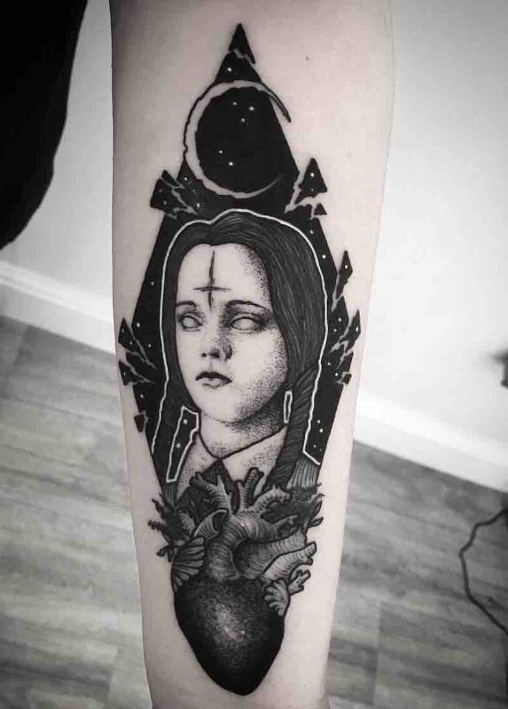 Wednesday Addams Tattoo by Merry Morgan