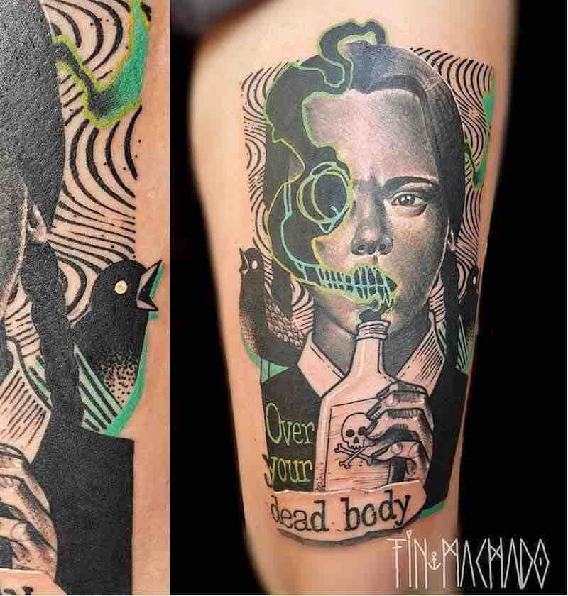 Wednesday Addams Tattoo by Tin Machado