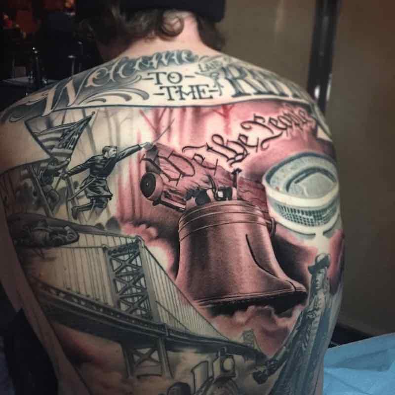 Liberty Bell Back Tattoo by Paul Marino