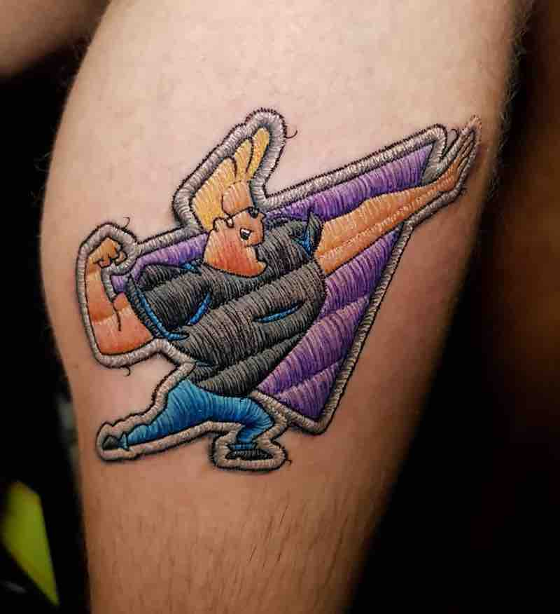 Johnny Bravo Embroidery Tattoo by Duda Lozano